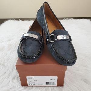 Coach Felisha Size 8.5 Signature C Black Loafers